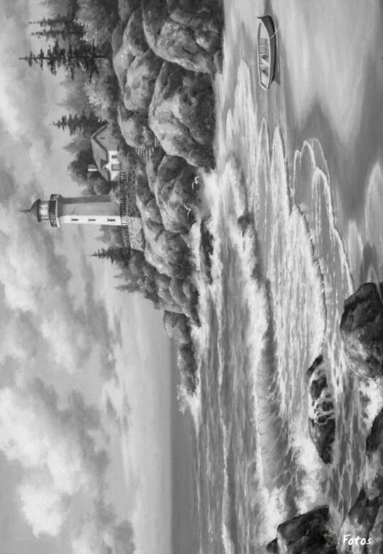 Lighthouse in greyscale